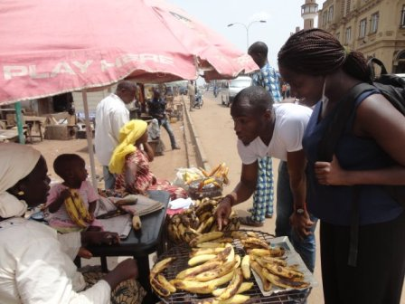 Interviewing a Roasted Plantain seller in Kwara state.