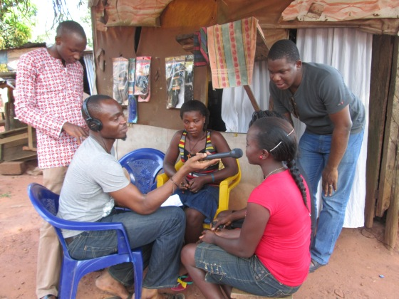 Interviewing young ladies in Enugu state.